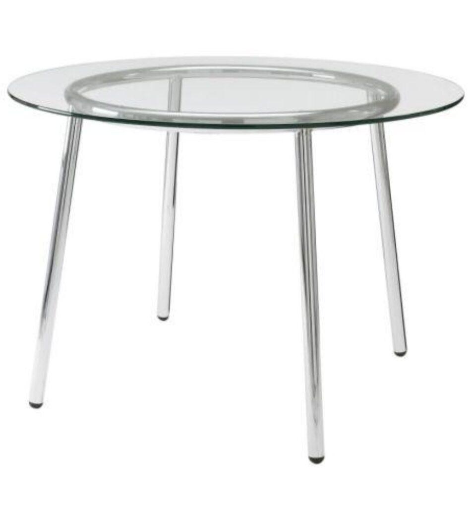 Mesa redonda de cristal reunión